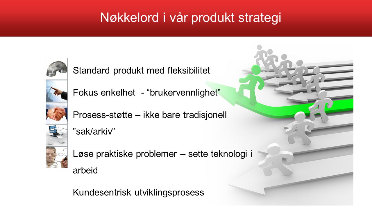 """Standard produkt med fleksibilitet Fokus enkelhet - """"brukervennlighet"""" Prosess-støtte – ikke bare tradisjonell """"sak/arkiv"""" Løse praktiske problemer –"""