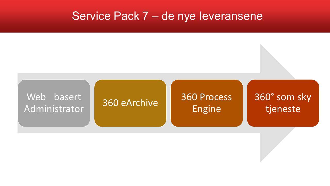 Web basert Administrator 360 eArchive 360 Process Engine 360° som sky tjeneste Service Pack 7 – de nye leveransene