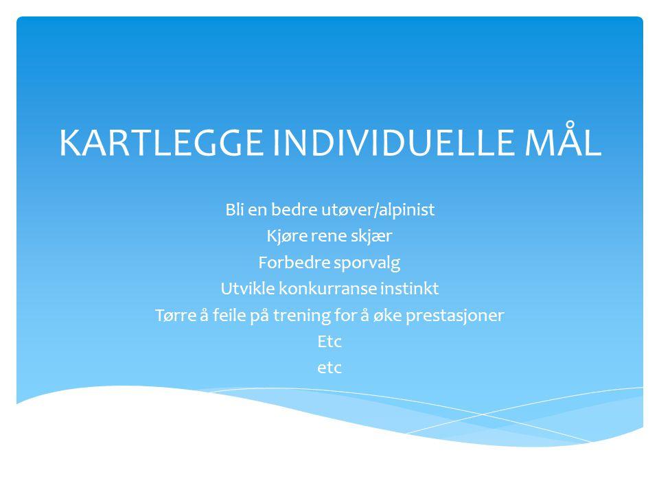 KARTLEGGE INDIVIDUELLE MÅL Bli en bedre utøver/alpinist Kjøre rene skjær Forbedre sporvalg Utvikle konkurranse instinkt Tørre å feile på trening for å
