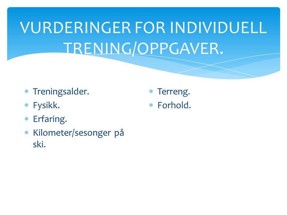 VURDERINGER FOR INDIVIDUELL TRENING/OPPGAVER.  Treningsalder.  Fysikk.  Erfaring.  Kilometer/sesonger på ski.  Terreng.  Forhold.