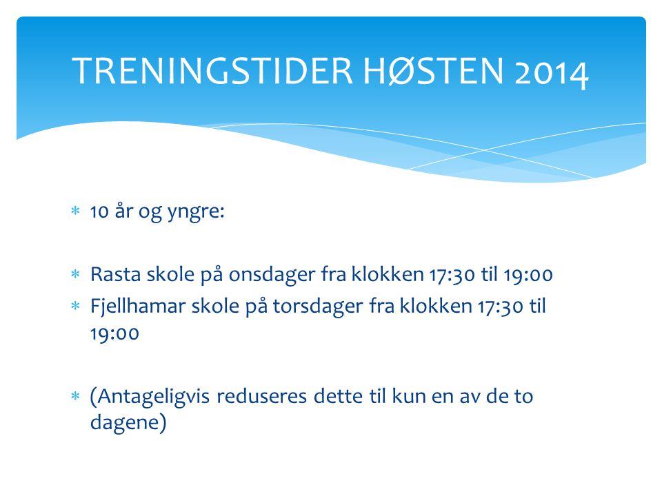  10 år og yngre:  Rasta skole på onsdager fra klokken 17:30 til 19:00  Fjellhamar skole på torsdager fra klokken 17:30 til 19:00  (Antageligvis re