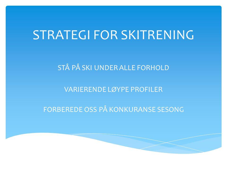 STRATEGI FOR SKITRENING STÅ PÅ SKI UNDER ALLE FORHOLD VARIERENDE LØYPE PROFILER FORBEREDE OSS PÅ KONKURANSE SESONG