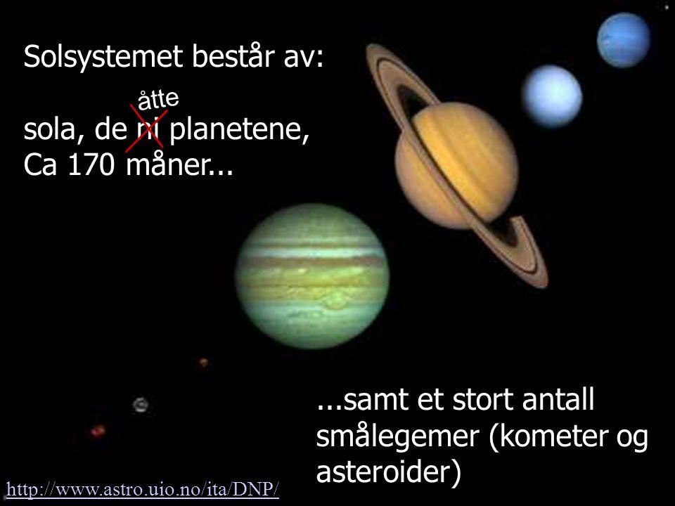 Angell og Henriksen, Fysisk institutt Solsystemet består av: sola, de ni planetene, Ca 170 måner......samt et stort antall smålegemer (kometer og aste
