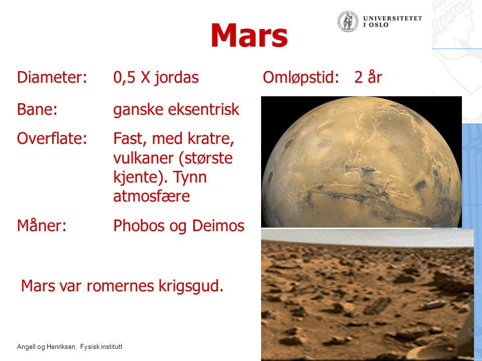 Angell og Henriksen, Fysisk institutt Mars Diameter:0,5 X jordas Omløpstid: 2 år Bane: ganske eksentrisk Overflate: Fast, med kratre, vulkaner (størst