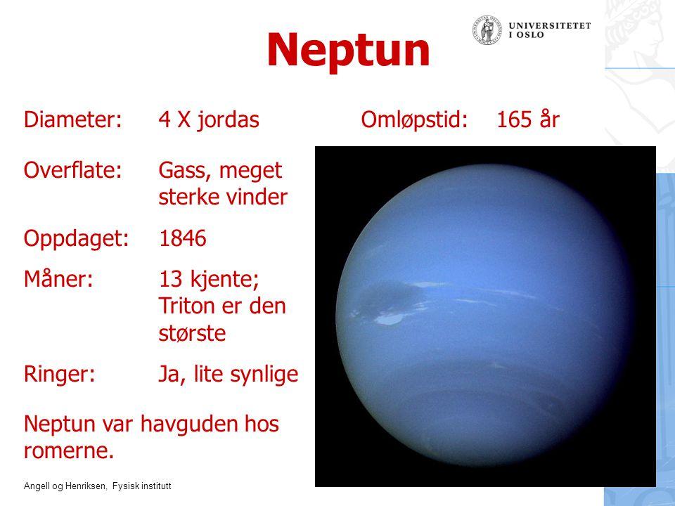 Angell og Henriksen, Fysisk institutt Neptun Overflate: Gass, meget sterke vinder Oppdaget: 1846 Måner: 13 kjente; Triton er den største Ringer:Ja, li