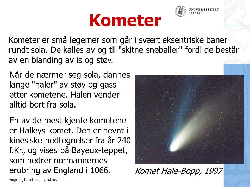 Angell og Henriksen, Fysisk institutt Kometer Komet Hale-Bopp, 1997 Kometer er små legemer som går i svært eksentriske baner rundt sola. De kalles av