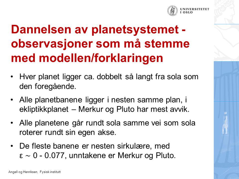 Angell og Henriksen, Fysisk institutt Dannelsen av planetsystemet - observasjoner som må stemme med modellen/forklaringen Hver planet ligger ca. dobbe