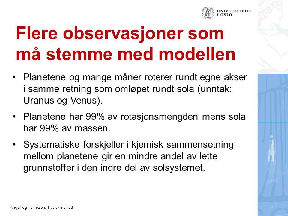 Angell og Henriksen, Fysisk institutt Flere observasjoner som må stemme med modellen Planetene og mange måner roterer rundt egne akser i samme retning
