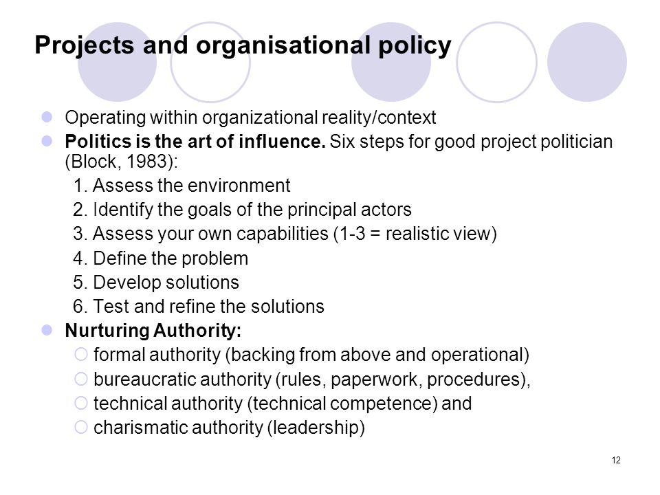 11 Prosjektlederen Politics of project management: Politics is the art of influence. Six steps for good project politician (Block, 1983): 1. Assess th