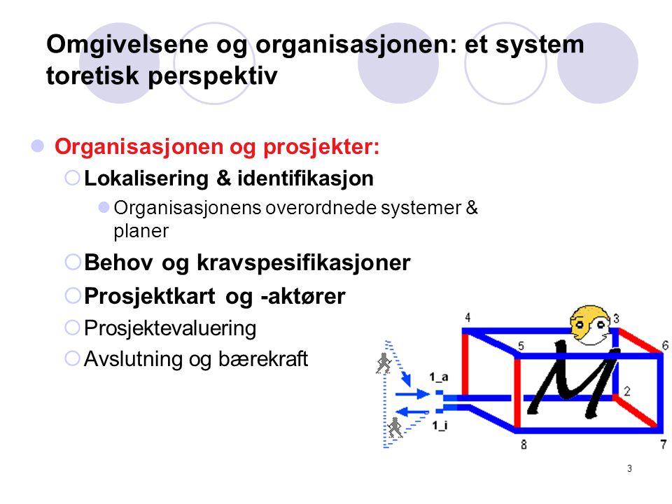 3 Omgivelsene og organisasjonen: et system toretisk perspektiv Organisasjonen og prosjekter:  Lokalisering & identifikasjon Organisasjonens overordnede systemer & planer  Behov og kravspesifikasjoner  Prosjektkart og -aktører  Prosjektevaluering  Avslutning og bærekraft