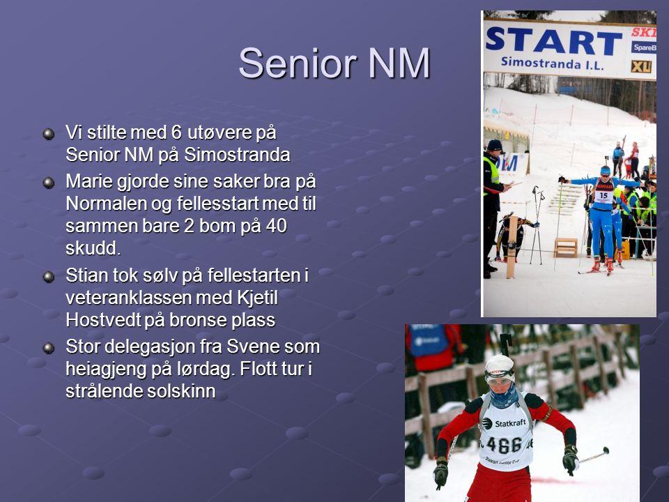 Senior NM Vi stilte med 6 utøvere på Senior NM på Simostranda Marie gjorde sine saker bra på Normalen og fellesstart med til sammen bare 2 bom på 40 skudd.