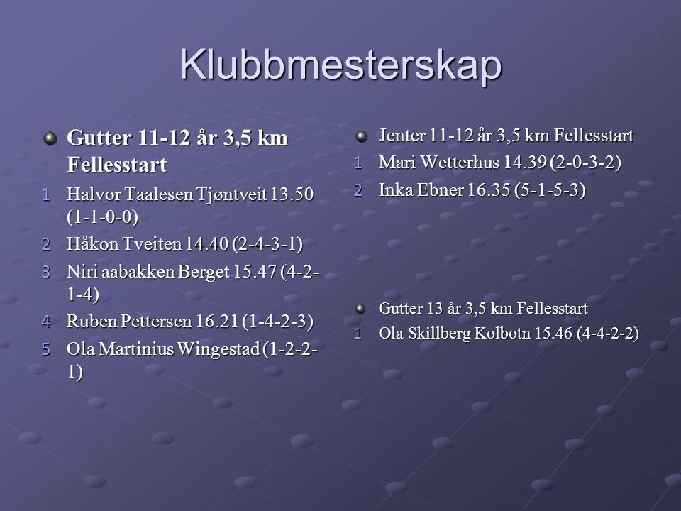 Klubbmesterskap Gutter 11-12 år 3,5 km Fellesstart 1 Halvor Taalesen Tjøntveit 13.50 (1-1-0-0) 2 Håkon Tveiten 14.40 (2-4-3-1) 3 Niri aabakken Berget 15.47 (4-2- 1-4) 4 Ruben Pettersen 16.21 (1-4-2-3) 5 Ola Martinius Wingestad (1-2-2- 1) Jenter 11-12 år 3,5 km Fellesstart 1 Mari Wetterhus 14.39 (2-0-3-2) 2 Inka Ebner 16.35 (5-1-5-3) Gutter 13 år 3,5 km Fellesstart 1 Ola Skillberg Kolbotn 15.46 (4-4-2-2)