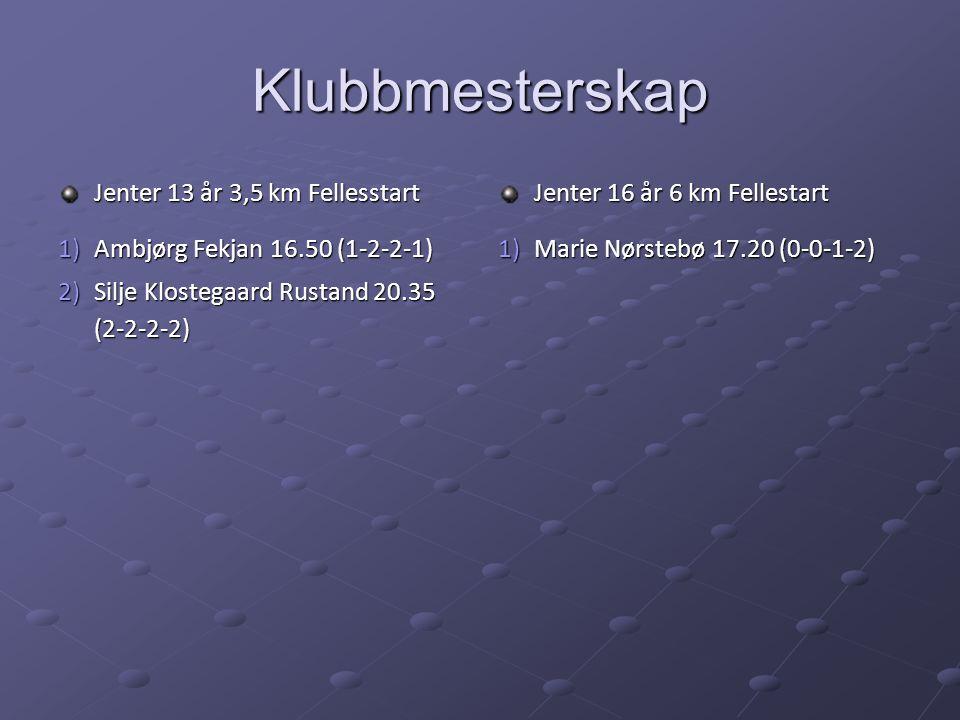 Klubbmesterskap Jenter 13 år 3,5 km Fellesstart 1)Ambjørg Fekjan 16.50 (1-2-2-1) 2)Silje Klostegaard Rustand 20.35 (2-2-2-2) Jenter 16 år 6 km Fellestart 1)Marie Nørstebø 17.20 (0-0-1-2)