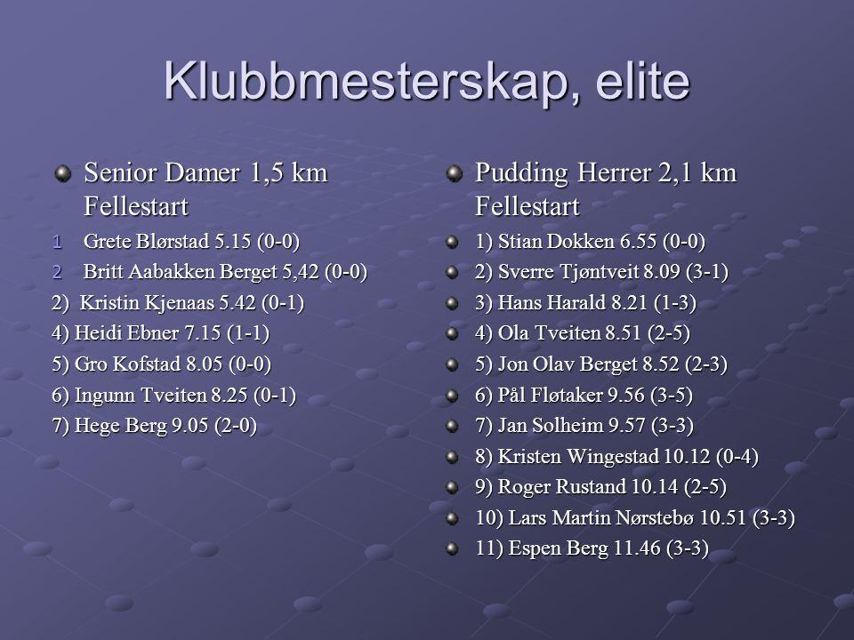 Klubbmesterskap, elite Senior Damer 1,5 km Fellestart 1 Grete Blørstad 5.15 (0-0) 2 Britt Aabakken Berget 5,42 (0-0) 2) Kristin Kjenaas 5.42 (0-1) 4) Heidi Ebner 7.15 (1-1) 5) Gro Kofstad 8.05 (0-0) 6) Ingunn Tveiten 8.25 (0-1) 7) Hege Berg 9.05 (2-0) Pudding Herrer 2,1 km Fellestart 1) Stian Dokken 6.55 (0-0) 2) Sverre Tjøntveit 8.09 (3-1) 3) Hans Harald 8.21 (1-3) 4) Ola Tveiten 8.51 (2-5) 5) Jon Olav Berget 8.52 (2-3) 6) Pål Fløtaker 9.56 (3-5) 7) Jan Solheim 9.57 (3-3) 8) Kristen Wingestad 10.12 (0-4) 9) Roger Rustand 10.14 (2-5) 10) Lars Martin Nørstebø 10.51 (3-3) 11) Espen Berg 11.46 (3-3)