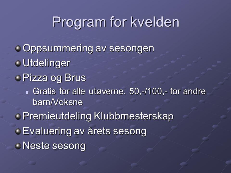 Program for kvelden Oppsummering av sesongen Utdelinger Pizza og Brus Gratis for alle utøverne.