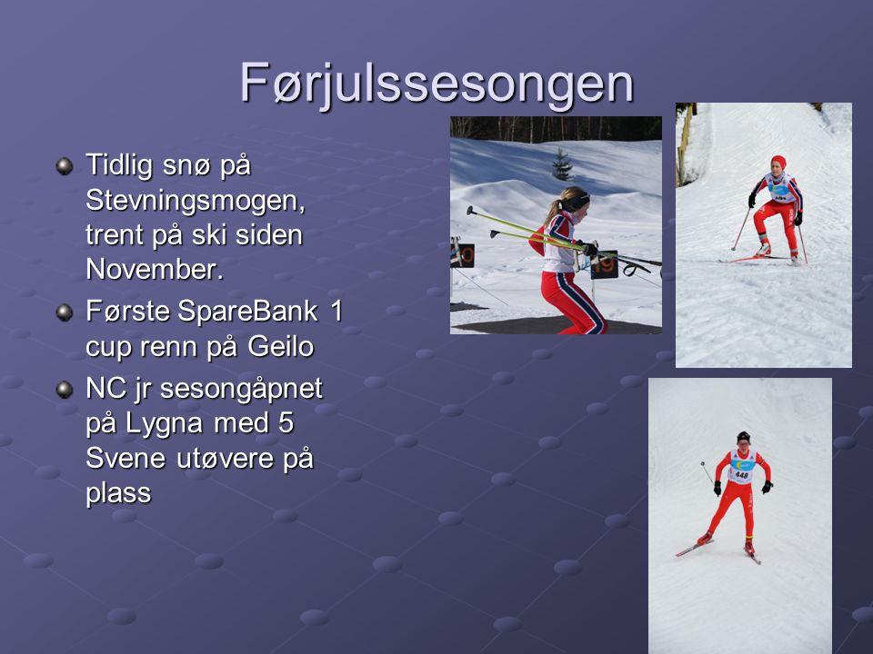 Førjulssesongen Tidlig snø på Stevningsmogen, trent på ski siden November.