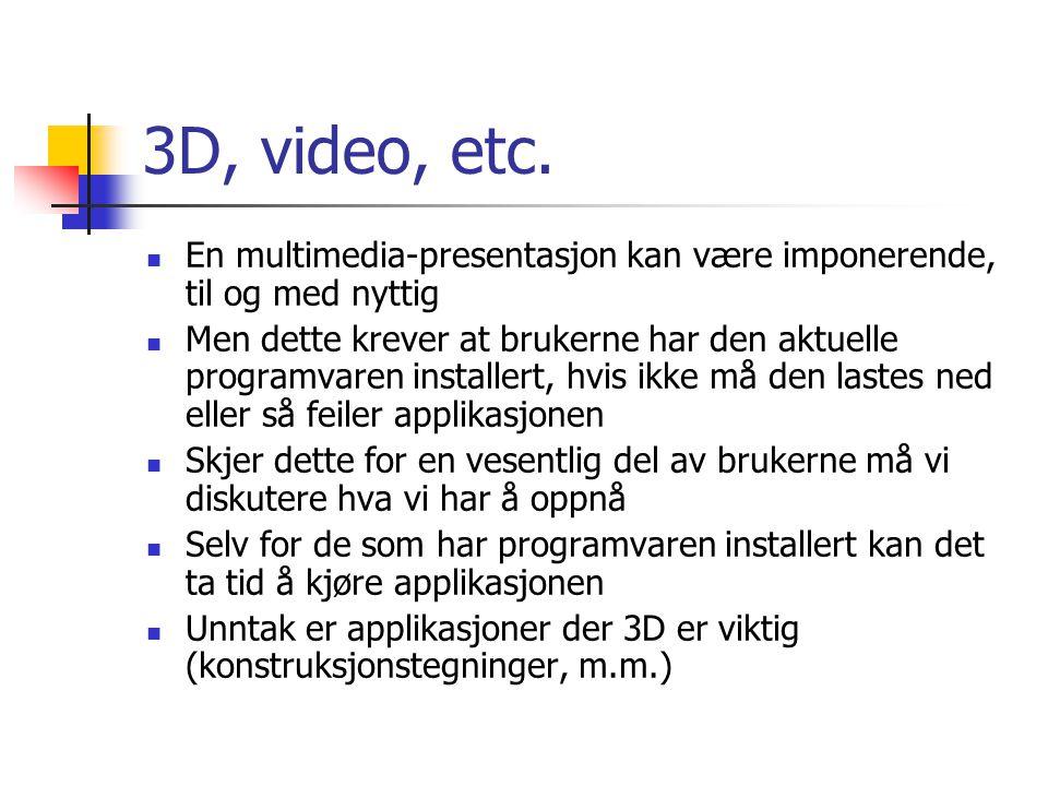 3D, video, etc. En multimedia-presentasjon kan være imponerende, til og med nyttig Men dette krever at brukerne har den aktuelle programvaren installe