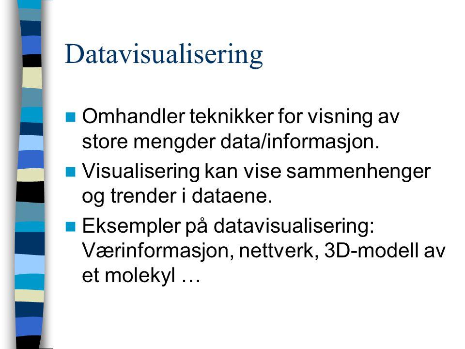 Datavisualisering Omhandler teknikker for visning av store mengder data/informasjon.