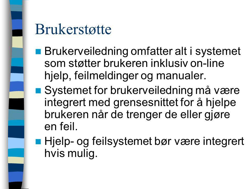 Brukerstøtte Brukerveiledning omfatter alt i systemet som støtter brukeren inklusiv on-line hjelp, feilmeldinger og manualer.