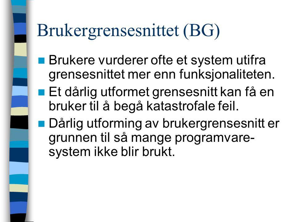 Brukergrensesnittet (BG) Brukere vurderer ofte et system utifra grensesnittet mer enn funksjonaliteten.