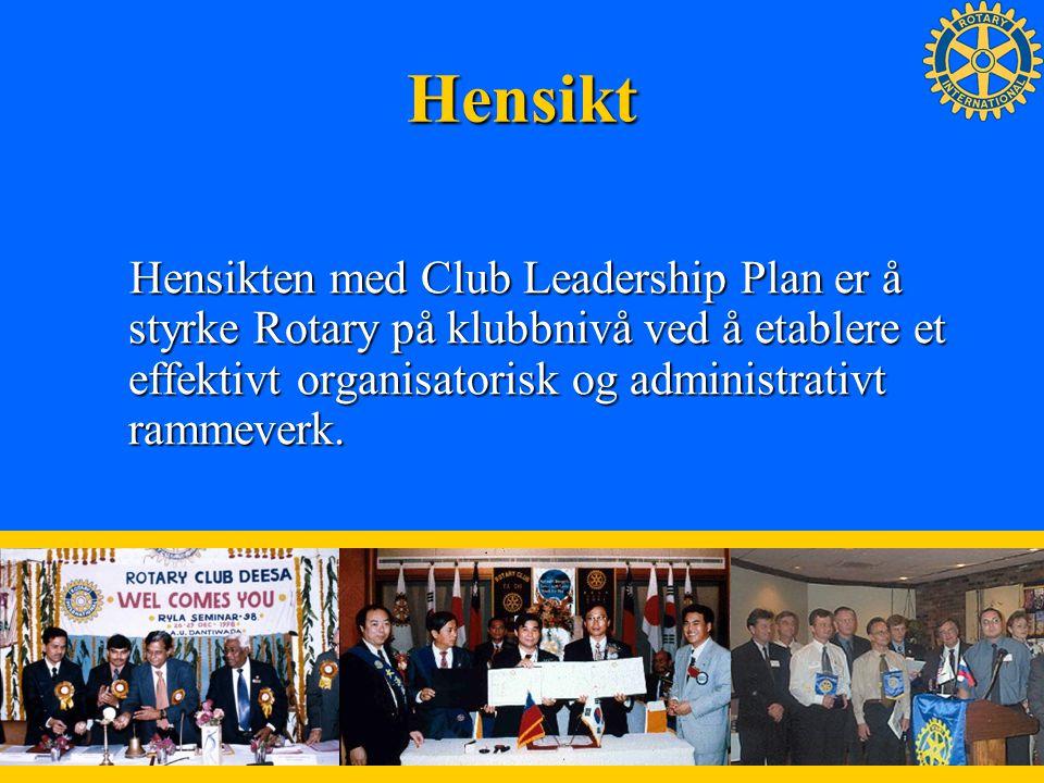 EffektiveEffektive klubber skal kunne Vedlikeholde / øke medlemskapet Etablere vellykkede Prosjekter Støtte The Rotary Foundation Utvikle ledere utover klubbnivå De fire tjenestegrener Club Leadership Plan