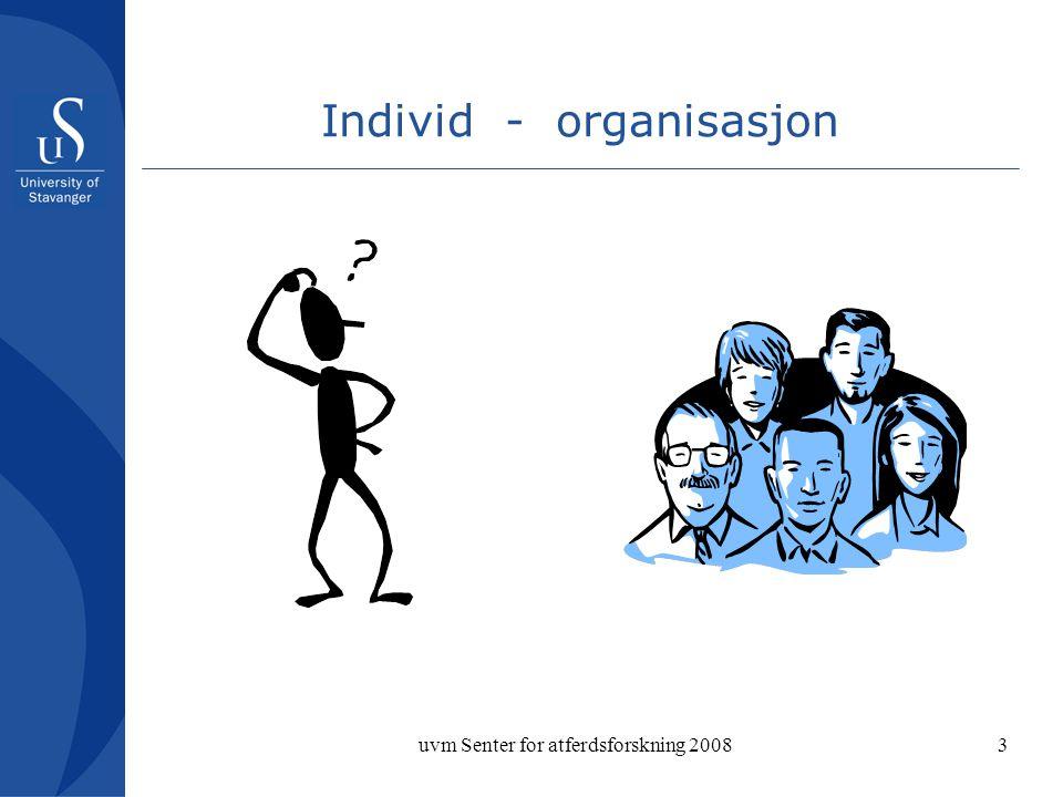 uvm Senter for atferdsforskning 20083 Individ - organisasjon