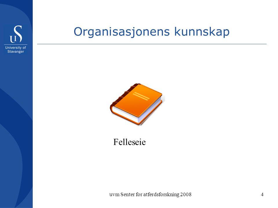 uvm Senter for atferdsforskning 20084 Organisasjonens kunnskap Felleseie