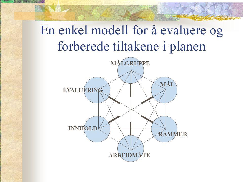 En enkel modell for å evaluere og forberede tiltakene i planen MÅLGRUPPE MÅL RAMMER ARBEIDMÅTE INNHOLD EVALUERING
