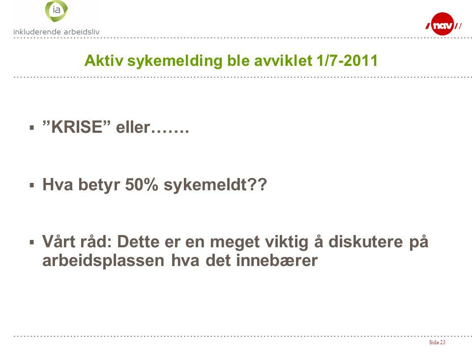 """Side 23 Aktiv sykemelding ble avviklet 1/7-2011  """"KRISE"""" eller…….  Hva betyr 50% sykemeldt??  Vårt råd: Dette er en meget viktig å diskutere på arb"""