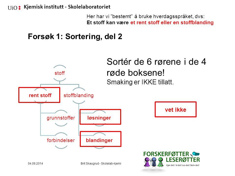 Kjemisk institutt - Skolelaboratoriet Forsøk 1: Sortering, del 2 Sortér de 6 rørene i de 4 røde boksene.