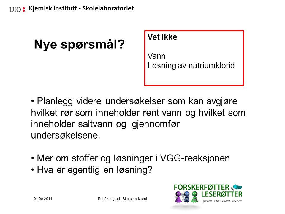 Kjemisk institutt - Skolelaboratoriet Nye spørsmål.