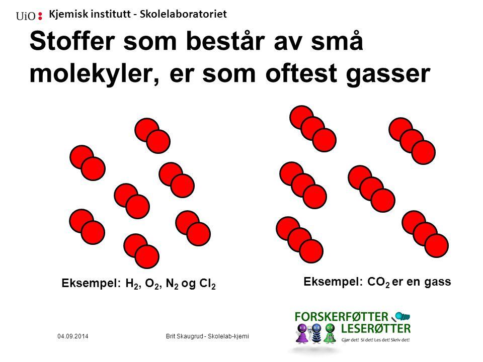 Kjemisk institutt - Skolelaboratoriet Stoffer som består av små molekyler, er som oftest gasser Eksempel: H 2, O 2, N 2 og Cl 2 Eksempel: CO 2 er en gass 04.09.2014Brit Skaugrud - Skolelab-kjemi