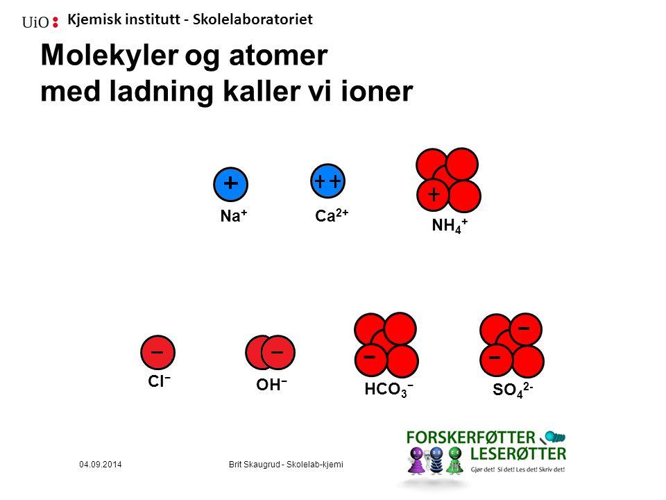 Kjemisk institutt - Skolelaboratoriet Molekyler og atomer med ladning kaller vi ioner SO 4 2- NH 4 + Ca 2+ HCO 3 − Cl−Cl− Na + OH − 04.09.2014Brit Skaugrud - Skolelab-kjemi