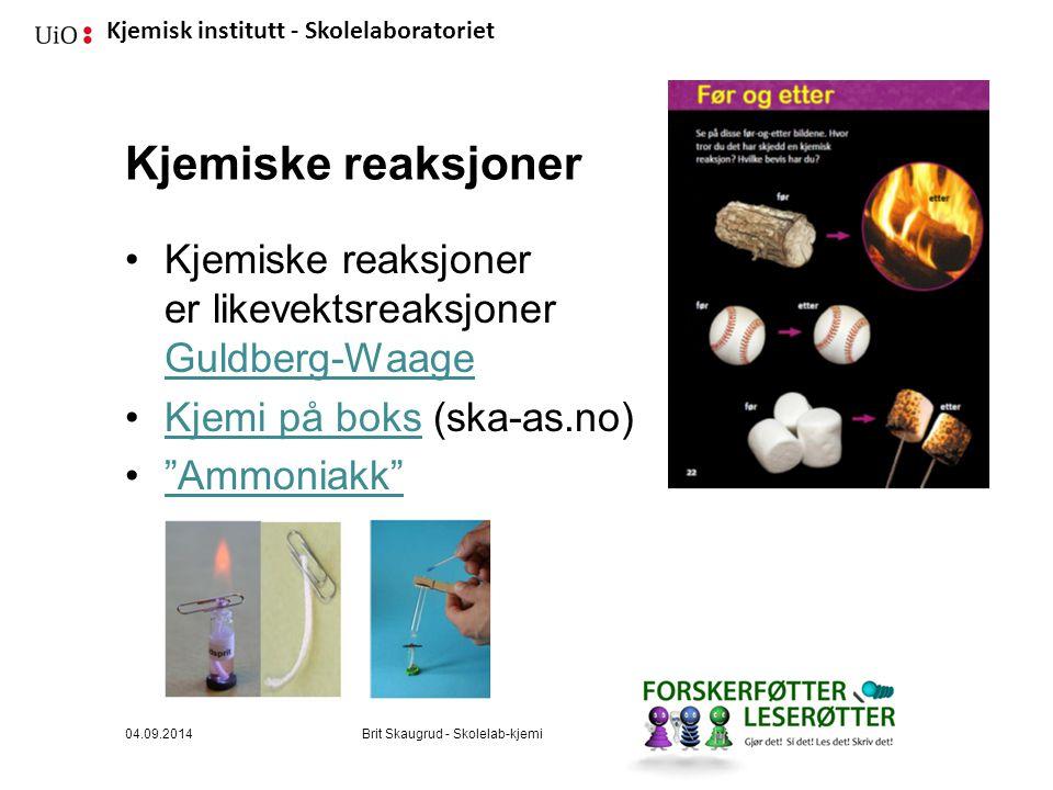 Kjemisk institutt - Skolelaboratoriet Kjemiske reaksjoner Kjemiske reaksjoner er likevektsreaksjoner Guldberg-Waage Guldberg-Waage Kjemi på boks (ska-