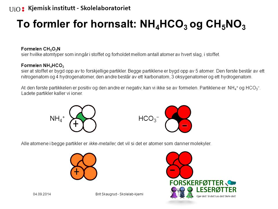 Kjemisk institutt - Skolelaboratoriet To formler for hornsalt: NH 4 HCO 3 og CH 5 NO 3 Formelen CH 5 O 3 N sier hvilke atomtyper som inngår i stoffet