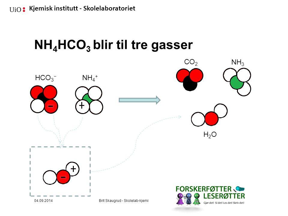 Kjemisk institutt - Skolelaboratoriet NH 4 HCO 3 blir til tre gasser NH 4 + HCO 3 − CO 2 NH 3 H2OH2O 04.09.2014Brit Skaugrud - Skolelab-kjemi