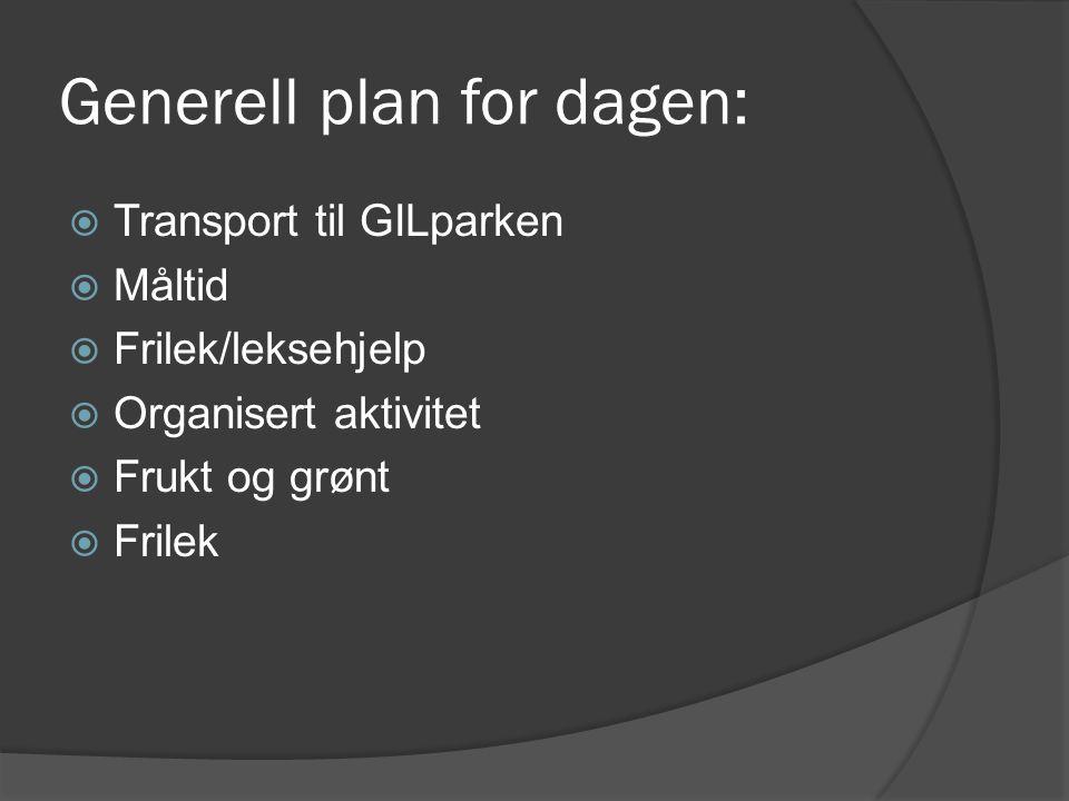 Generell plan for dagen:  Transport til GILparken  Måltid  Frilek/leksehjelp  Organisert aktivitet  Frukt og grønt  Frilek