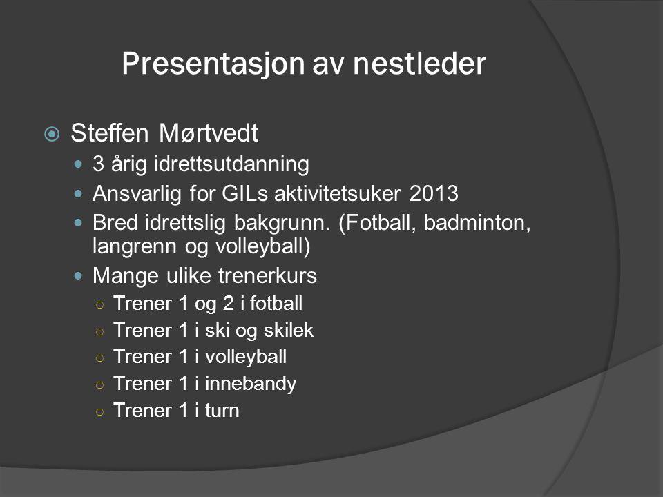 Presentasjon av nestleder  Steffen Mørtvedt 3 årig idrettsutdanning Ansvarlig for GILs aktivitetsuker 2013 Bred idrettslig bakgrunn. (Fotball, badmin