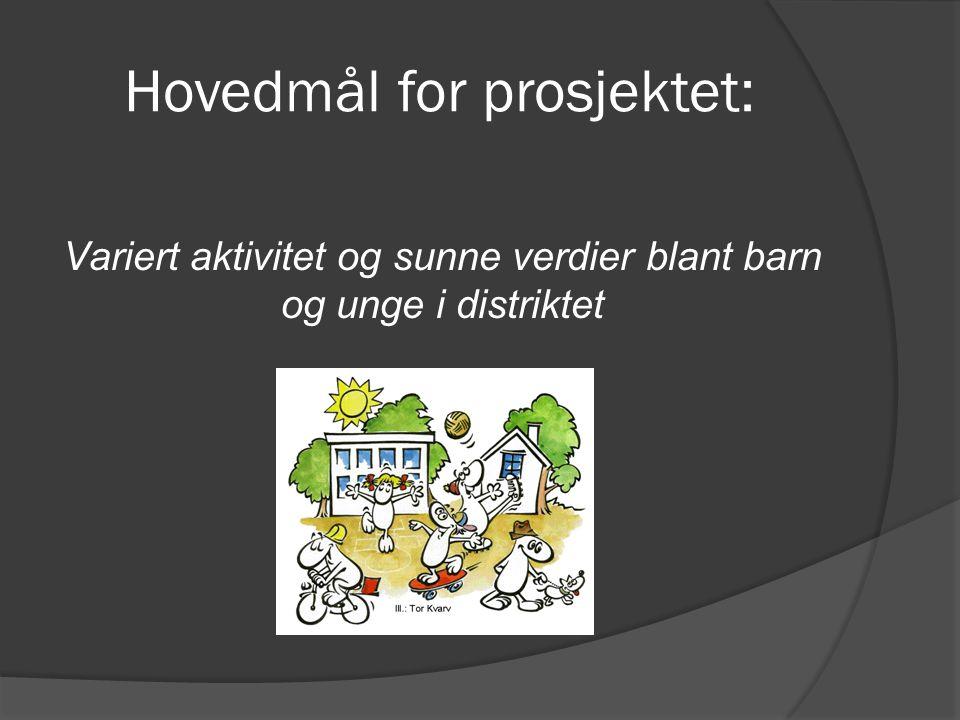 Hovedmål for prosjektet: Variert aktivitet og sunne verdier blant barn og unge i distriktet