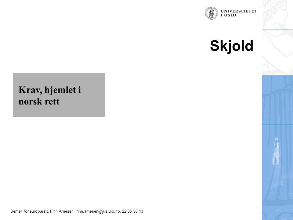 Senter for europarett, Finn Arnesen, finn.arnesen@jus.uio.no, 22 85 96 13 Skjold Krav, hjemlet i norsk rett
