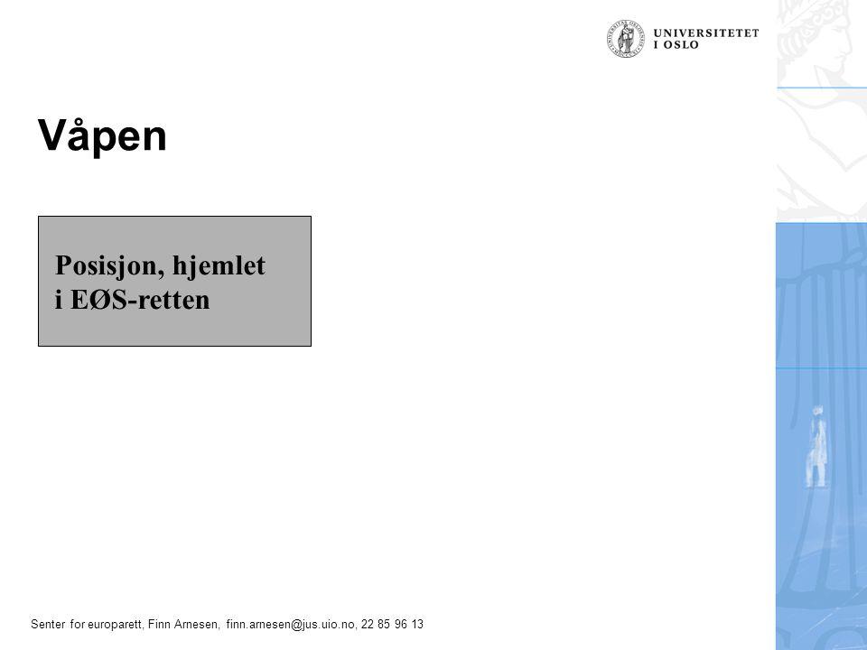 Senter for europarett, Finn Arnesen, finn.arnesen@jus.uio.no, 22 85 96 13 Våpen Posisjon, hjemlet i EØS-retten