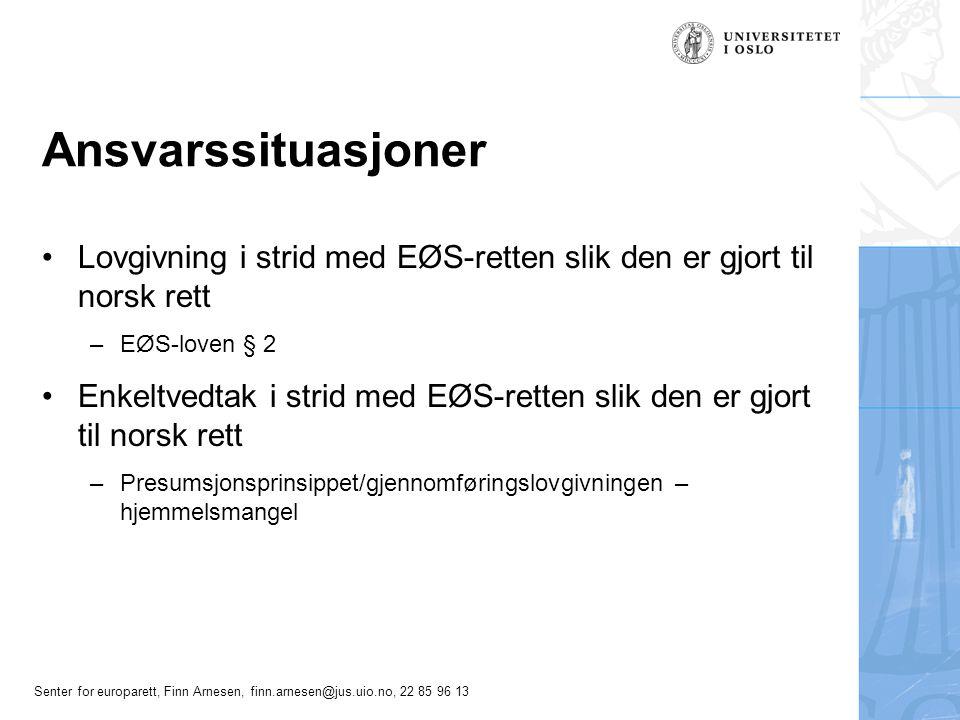 Senter for europarett, Finn Arnesen, finn.arnesen@jus.uio.no, 22 85 96 13 Ansvarssituasjoner Lovgivning i strid med EØS-retten slik den er gjort til n