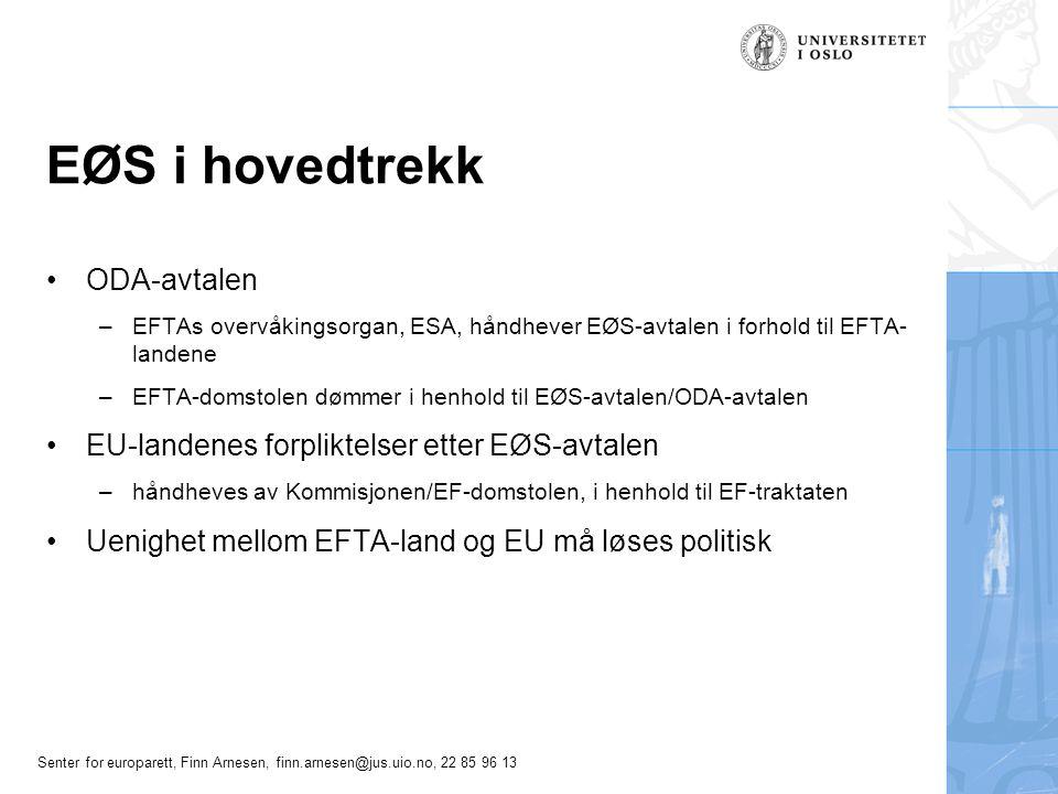 Senter for europarett, Finn Arnesen, finn.arnesen@jus.uio.no, 22 85 96 13 Direkte saksanlegg ved EFTA- domstolen EFTA-statenes søksmålskompetanse –Vis a vis hverandre, ODA 32 –Vis a vis ESA, ODA 36 og 37 EU-statens søksmålskompetanse – ingen Virkningen av fellende dom, ODA 33