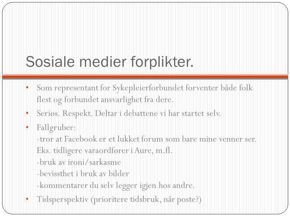Facebook Personlig profil, «fan-side», gruppe, arrangement.