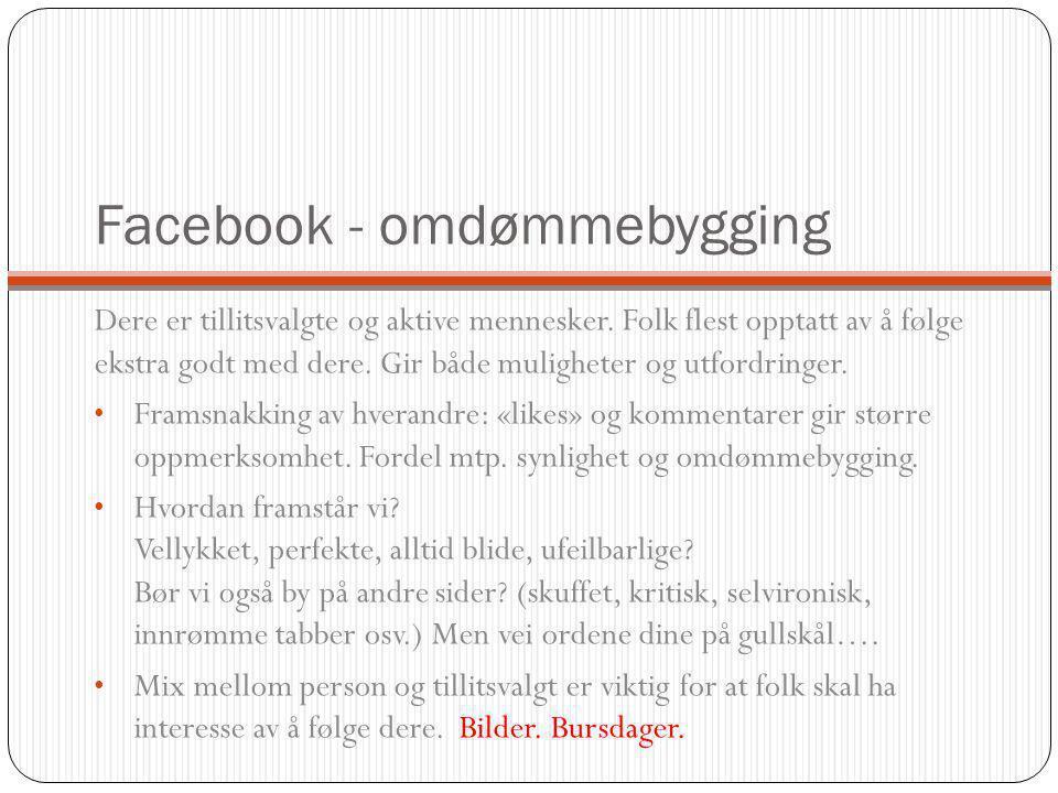 Facebook - politisk Poste politiske budskap, lenker, blogginnlegg, meningsytringer hvor du inviterer til debatt.