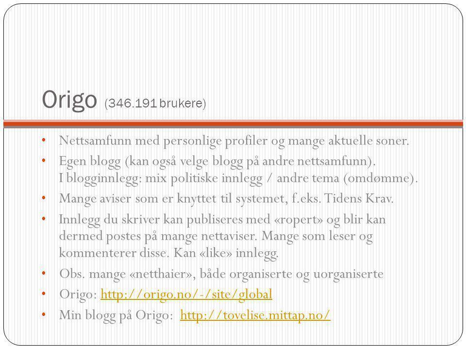 Origo (346.191 brukere) Nettsamfunn med personlige profiler og mange aktuelle soner. Egen blogg (kan også velge blogg på andre nettsamfunn). I bloggin