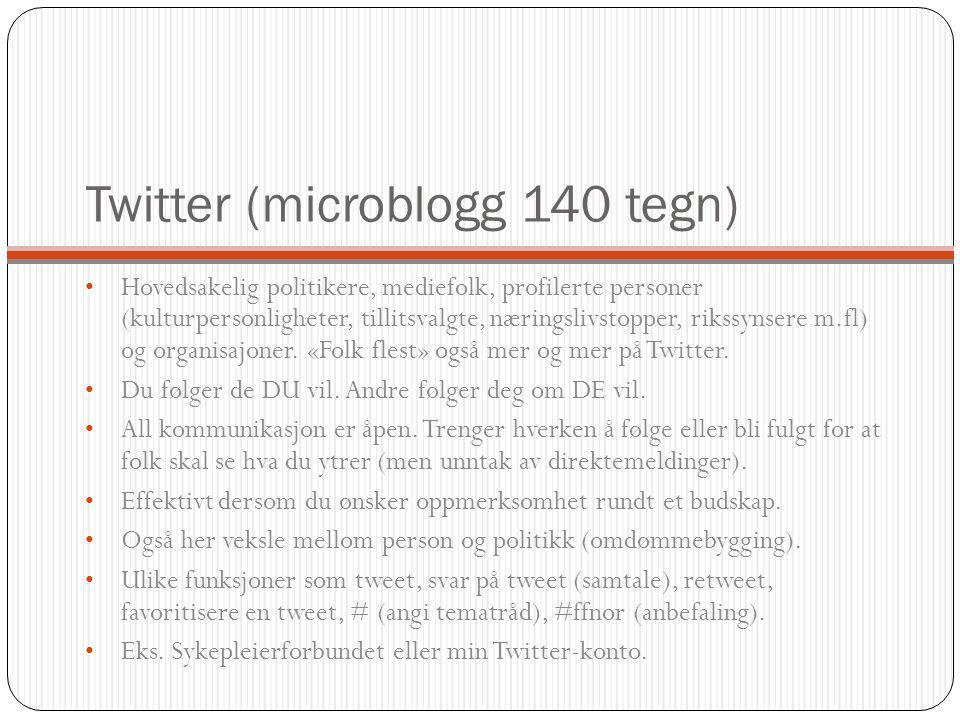 Twitter (microblogg 140 tegn) Hovedsakelig politikere, mediefolk, profilerte personer (kulturpersonligheter, tillitsvalgte, næringslivstopper, rikssynsere m.fl) og organisajoner.