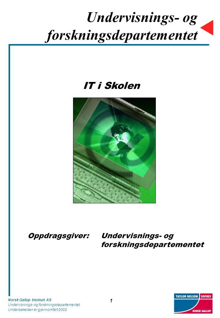 Norsk Gallup Institutt AS Undervisnings- og forskningsdepartementet Undersøkelsen er gjennomført 2002 12 Datamaskiner tilknyttet Internett Diagrammet viser andel datamaskiner tilgjengelig for elevene som er tilknyttet Internett i forhold til det totale antall datamaskiner (N=569).