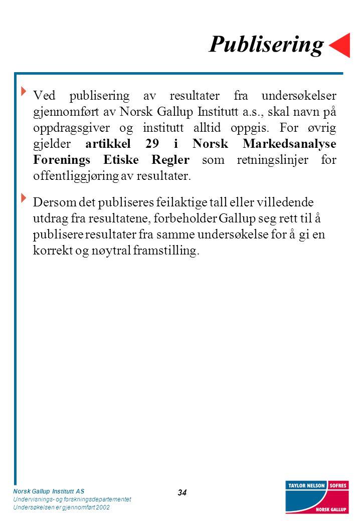 Norsk Gallup Institutt AS Undervisnings- og forskningsdepartementet Undersøkelsen er gjennomført 2002 34 Publisering  Ved publisering av resultater fra undersøkelser gjennomført av Norsk Gallup Institutt a.s., skal navn på oppdragsgiver og institutt alltid oppgis.