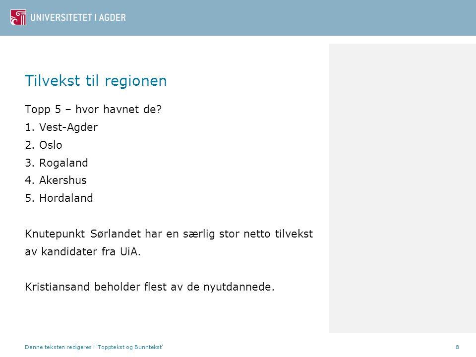 Tilvekst til regionen Topp 5 – hvor havnet de? 1. Vest-Agder 2. Oslo 3. Rogaland 4. Akershus 5. Hordaland Knutepunkt Sørlandet har en særlig stor nett